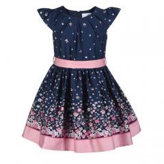 Eisend Mädchen Festkleid Sommer Kleid marine Blumen - 901373
