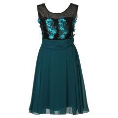 Festliches Chiffon-Kleid mit Stola, Mesh und Blumen-Applikation Mädchen, türkis - 1375000petrol