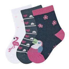 "Mädchen 3 Paar Söckchen Socken 3er-Pack ""Kakadu/Herzen/Flamingo"", marineblau, weiß - 8322024"