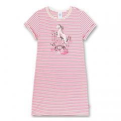 """Mädchen Nachthemd, pretty pin, weiß, pink, gestreift, """"into the wild"""" - 232411"""