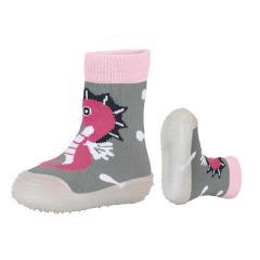 Mädchen Anti-Rutsch-Socken Adventure Socks, silbergrau mit Seepferdchen - 8361903