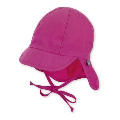 Baby Mädchen Schirmmütze zum Binden LSF UV-Schutz 50+ Sommermütze Schildmütze mit Nackenschutz, einfarbig, magenta – 1502025