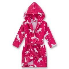 Mädchen Bademantel mit Einhorn, pink - 232185