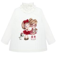 """Baby Mädchen T-Shirt Langarmshirt mit Glitzermotiv und Volant-Kragen, naturweiß rot """"Mädchen und Hunde"""" - 2.006"""