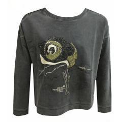 Sweater Mädchen Pullover gemustert mit Tank Top, anthrazit