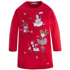 Mädchen Winterkleid Kleid Pullover Kleid, rot - 4937r