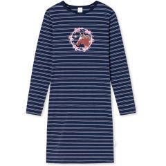 """Mädchen Nachthemd Sleepshirt gestreift mit Rundkragen """"PFERD und Blumen""""-Motiv, dunkelblau - 175330"""