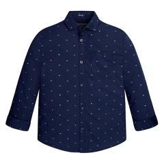 Jungen Hemd mit langen Ärmeln Langarmhemd, dunkelblau - 7133