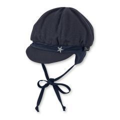 """Baby Jungen Ballonmütze Schirmmütze zum Binden LSF UV-Schutz 15 Sommermütze """"Silberstern"""", einfarbig marineblau – 1602010"""