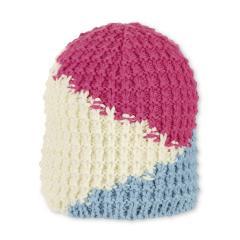 Mädchen Mütze gefüttert Wintermütze Strickmütze Fleecefutter, pink beige hellblau- 4721903