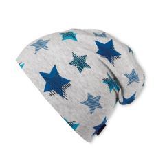 Slouch-Beanie Mütze Jungen Sterne, kristallblau - 1521808