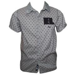 Festliches Jungenhemd kurzarm Hemd gepunktet, grau