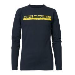 Jungen Langarmshirt Sweatshirt T-Shirt Petrol Ind. mit Aufschrift auf gelbem Grund, dunkelblau - B-3090-TLR652