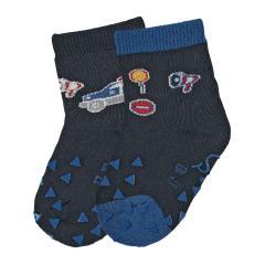 """Baby Jungen Krabbel-Söckchen gefüttert 2er Pack Anti-Rutsch-Socken Strümpfe mit rutschfester ABS-Sohle """"Polizeiauto/Verkehr"""", marineblau - 8111923"""