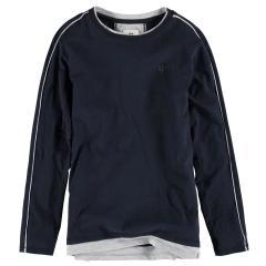 Garcia Jungen T-Shirt Langarmshirt mit dezentem Logo, dunkelblau hellgrau - G93406 292