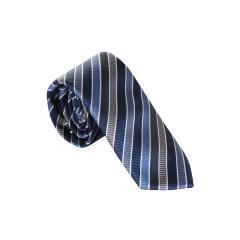 Jungen Schlips Krawatte zum binden gestreift und kariert- Blau-997000
