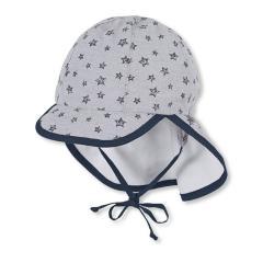 Jungen Schirmmütze zum Binden, Sommermütze mit Nackenschutz, UV-Schutz 50+, grau - 1611938