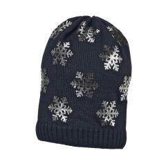 Mädchen Mütze Wintermütze Strick mit glitzernden Schneeflocken, marine - 4721826