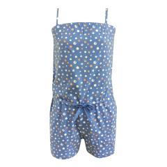 Schlafanzug Einteiler Jumpsuit Mädchen gepunktet, hellblau - 156755