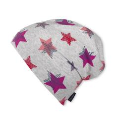 Slouch-Beanie Mütze Mädchen Sterne, violett - 1521808