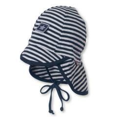 Jungen Sommermütze zum Binden mit variablem Schirm, mit Nackenschutz, Flapper, UV-Schutz 50+, marineblau - 1501826