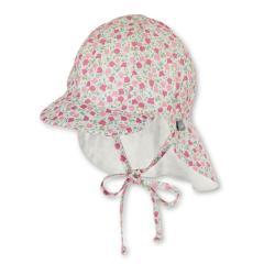 """Mädchen Kinder Baby Schirmmütze zum Binden mit Nackenschutz, Sommermütze """"Blumen-Allover"""", rosa-beige – 1402030"""