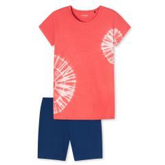 "Mädchen Schlafanzug Pyjama Motivdruck Batik ""Kreise"", koralle - 173381"