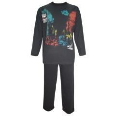 Langarm Schlafanzug Jungen, schwarz