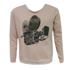 Mädchen T-Shirt Langarm Aufdruck, altrosa