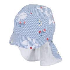 """Mädchen Schirmmütze mit Nackenschutz, LSF UV-Schutz 30 Sommermütze """"Blumen/gestreift"""", himmelblau-weiß– 1422027"""