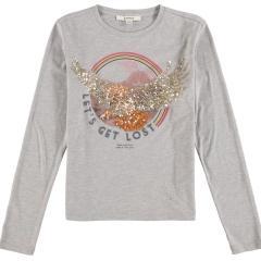 Garcia- Mädchen Langarmshirt print mit Glitzer- Grey- U02404