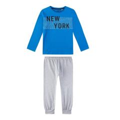 Sanetta Jungen Schlafanzug Langarm New York, royalblau/grau - 244531