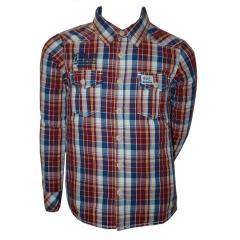 Jungen Langarmhemd Hemd, rot-blau