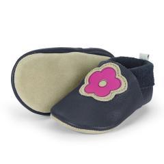 """Baby-Schuhe Mädchen Krabbelschuhe aus 100% Leder mit Gummizug """"Blume"""", marineblau - 5201902"""