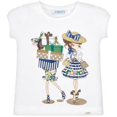 Mayoral Mädchen T-Shirt kurzarm mit süßem Puppen-Motiv, dunkelblau - 3.011b
