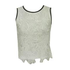 Mädchen T-Shirt strickoptik, ärmellos, weis