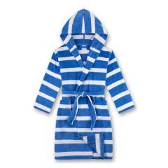 Jungen Bademantel mit Kapuze und Taschen, blau weiß - 244492