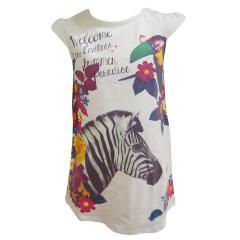 Kleid Mädchen Sommer Zebra Blumen, weiß-gemustert