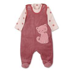 """Baby Mädchen Strampler Set mit Langarmbody Body zum Knöfen """"Katze mit Zierschleife""""-Motiv, rosa - 5602110"""