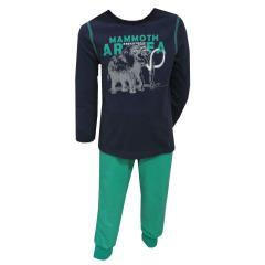 Schlafanzug langarm Jungen Mammut, dunkelblau