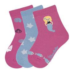 """Mädchen 3 Paar Söckchen Glitzer-Socken 3er-Pack """"Meerjungfrau"""", pink - 8322023"""