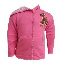 Baby Mädchen Jacke Jäckchen mit Bambimotiv, pink