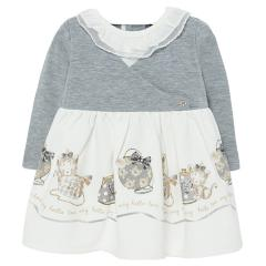 """Baby Mädchen Kleid langarm Winterkleid mit Knöpfen und Rüschendetails, beige grau """"Katzen"""" - 2913"""