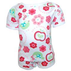 Body Baby Mädchen Kurzarm Blumen, weiß-rot