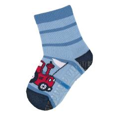"""Jungen Anti-Rutsch-Socken Fliesen Flitzer Air """"Traktor"""", himmelblau - 8032004"""