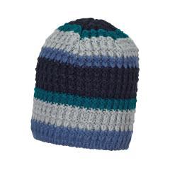 Jungen Mütze Strickmütze gestreift gefüttert, tintenblau - 4721801