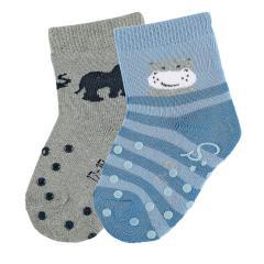 "Jungen Baby 2 Paar ABS-Krabbelsöckchen gefüttert Anti-Rutsch-Socken Doppelpack ""Nilpferd/Elefant"", samtblau/silbergrau - 8012022"