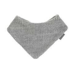 Jungen Baby Winter Dreieckstuch gefüttert Microfleece mit Klettverschluss einfarbig gestrickt, grau – 4102070-silbergrau