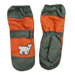 Fäustlinge Kinder Handschuhe Jungen gefüttert Eisbär, rot-orange - 9503609