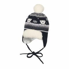 """Baby Jungen Mütze Wintermütze Strickmütze gefüttert mit Bommel zum Binden """"Wintermotiv mit Eisbären"""", marine - 4701830"""